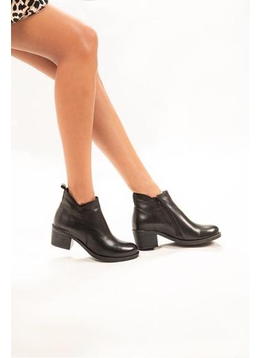 Dr.Flexer 179105  Hakiki Deri Kadın Comfort Bot Sıyah Siyah